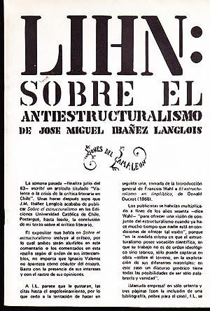 Sobre el antiestructuralismo de José Miguel Ibáñez Langlois: Lihn, Enrique