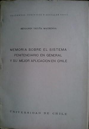 Memoria sobre el sistema penitenciario en general: Vicuña Mackenna, Benjamín