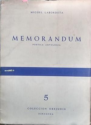 Memorandum. Poética autología: Labordeta, Miguel ( 1921-1969 )