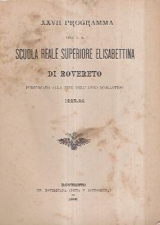 XXVII PROGRAMMA DELLA I.R. SCUOLA REALE SUPERIORE: AA.VV.