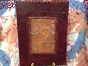 Hand Made Large Leather Journal w/ Tree: Flying Marlena's Curious