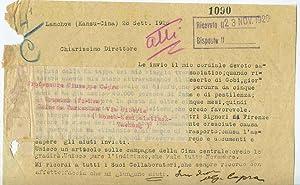 Lettera datt. con firma autografa datata Lanchov: Giuseppe Capra (Pont