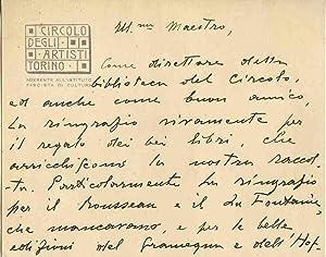 Lettera autografa firmata del giornalista, sceneggiatore e: Arrigo Frusta, (ps.