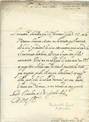 Lettera con firma autografa del diplomatico degli: Ercole Rondinelli (Governatore