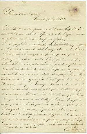 Bella lettera autografa firmata dell'enologo e agronomo: Francesco Gazzetti (sec.