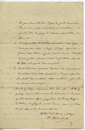 Lettera autografa firmata dat. Stenico 8 gennajo: Paride Ciolli (Samoclevo
