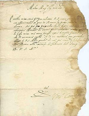 Rara lettera firmata dat. Di Roma alli: Vincenzo Campeggi (Bologna