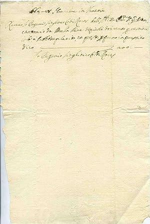 Documento autografo firmato datato 1563 - 28: Eugenio Singlitico (sec.