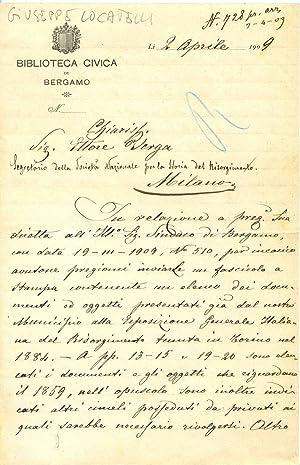Lettera firmata, Li 2 aprile 1909 del: Giuseppe Locatelli (Almenno