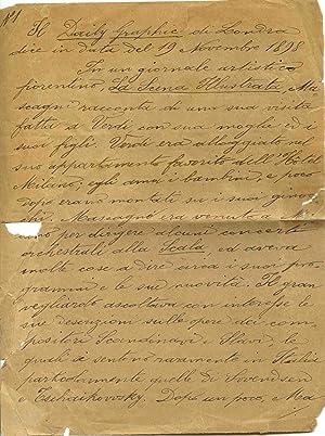 Scritto autografo (risalente al 1898) del giornalista: Pilade Pollazzi (Firenze