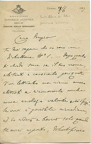 Interessante lettera autografa firmata del Conte Alvise: Alvise Da Schio
