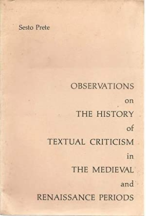 Observations on the History of Textual Criticism: Sesto Prete