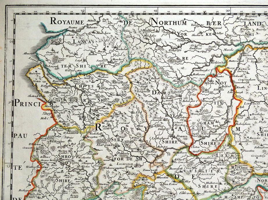 Mercia England Map.Midlands Mercia East Anglia Central England Sanson Original