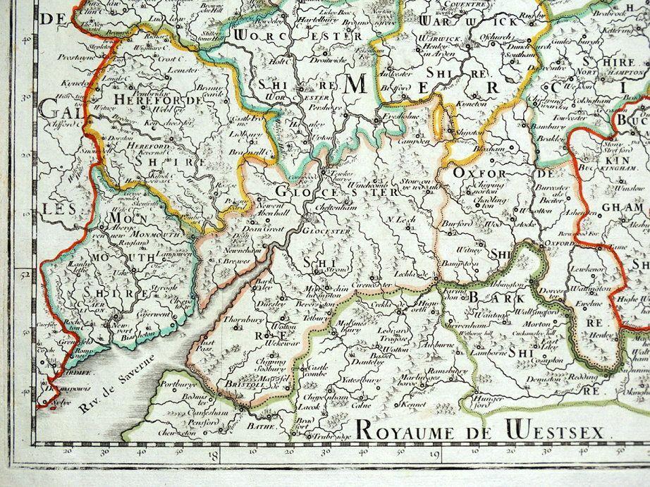 Map Of England Midlands.Midlands Mercia East Anglia Central England Sanson Original