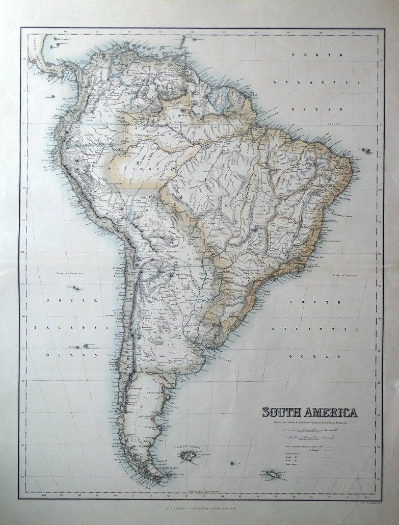 SOUTH AMERICA, Fullarton original antique map c1865   [ ] (bi_22530796860) photo