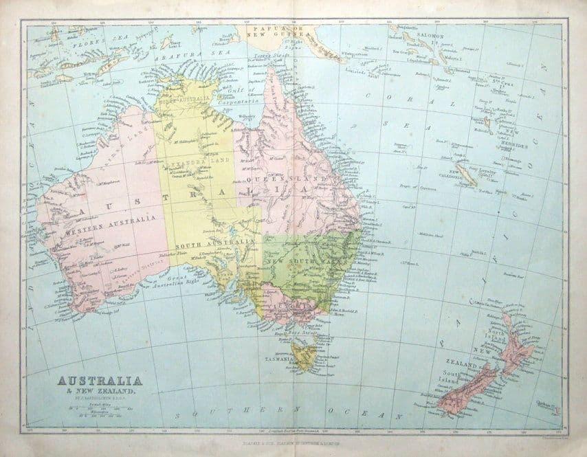Map Of New Zealand Australia.Australia New Zealand Antique Map C1860