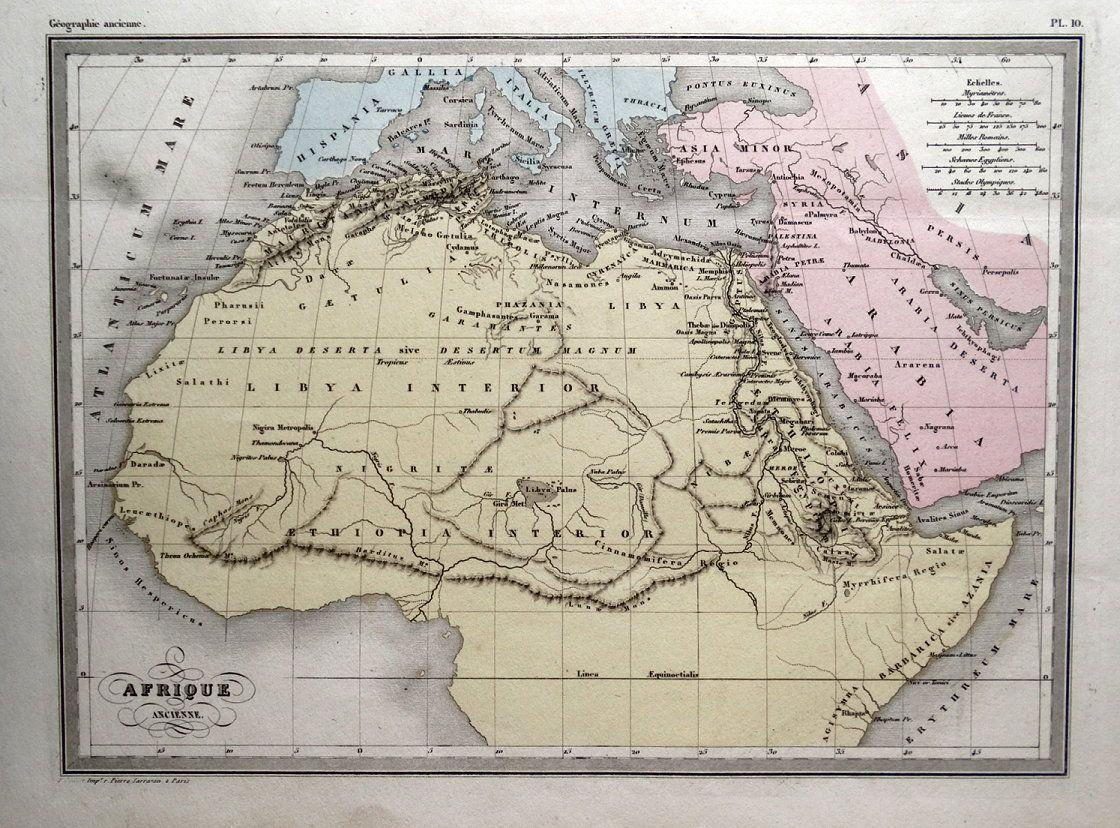 Map Of Africa 1850.Ancient Africa Original Malte Brun Antique Hand Coloured Vintage Map