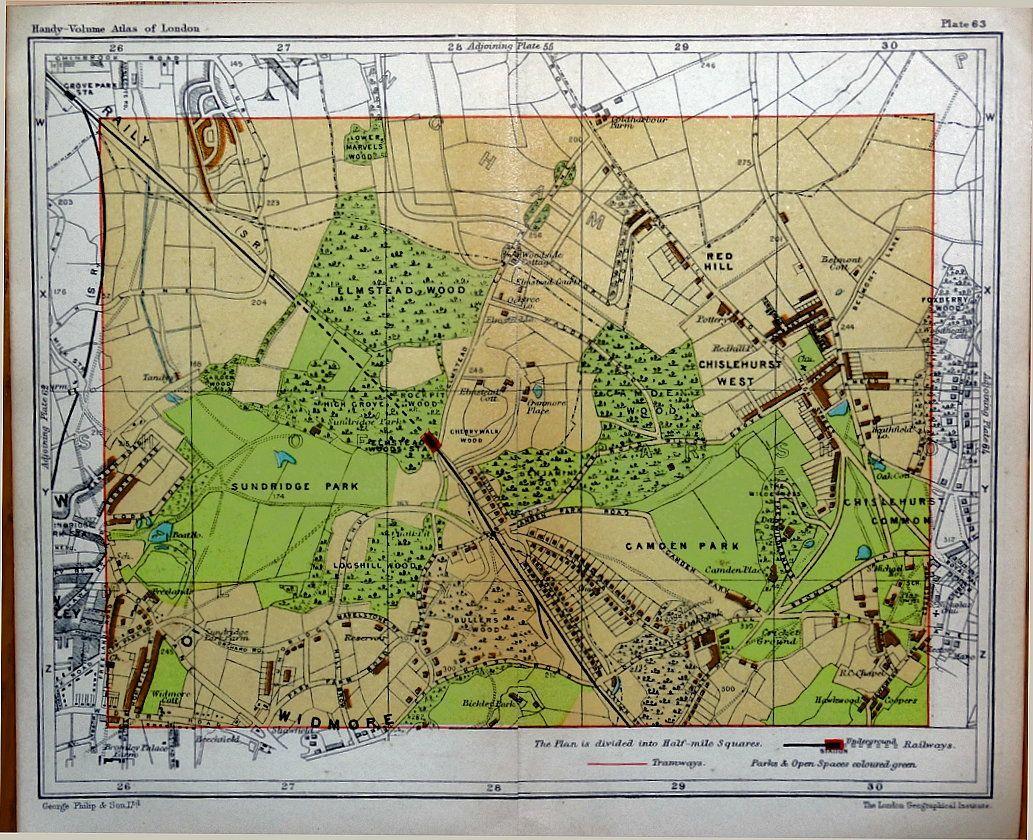 Bromley Kent Chislehurst Sundridge Camden London Street Plan Antique