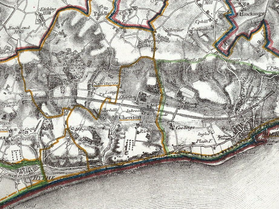 An old map dated 1834 Maidstone and Environs Enhanced Reprint