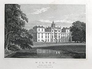 WILTON HOUSE, WILTON, S.E. view, WILTSHIRE Original antique print 1830