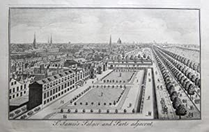 St. JAMES'S PALACE, & LONDON BIRD'S EYE VIEW, Maitland orig. antique print 1756