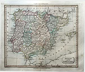 SPAIN & PORTUGAL & BALEARIC ISLANDS Original Hand Coloured Antique Map 1821