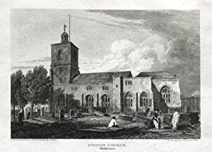 ST DUNSTANS PARISH CHURCH STEPNEY LONDON Original Antique Print 1815