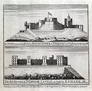 WINDSOR CASTLE, BERKSHIRE 2 views, original copper engraving antique print 1747