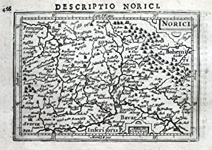 BAVARIA, GERMANY, NORICI,NUREMBURG, INGOLSTADT, BERTIUS original antique map 1618
