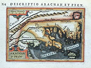BURMA, MYANMAR, ARACHAN & PEGU, BERTIUS original antique miniature map 1618