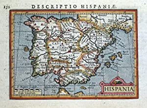 HISPANIA, SPAIN & PORTUGAL, PETRUS BERTIUS original miniature antique map 1618