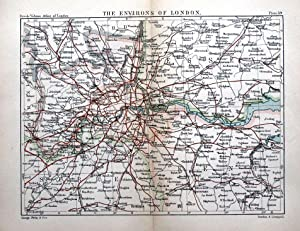 VINTAGE LONDON PLAN ANTIQUE MAP CITY AND SUBURBS WITH RAILWAYS 1896