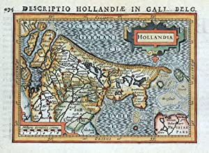 NETHERLANDS, HOLLAND, HOLLANDIA, P.BERTIUS original antique miniature map 1618