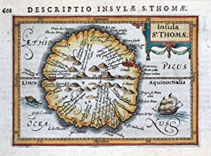 SAO TOME, INSULA St.THOMAE, AFRICA, P. BERTIUS original antique map 1618