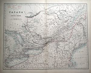 BRITISH NORTH AMERICA, CANADA, USA, RAILWAYS, Fullarton large antique map c1865