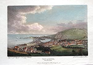 KENT, VIEW OF DOVER FROM THE CASTLE, Hand Coloured Antique Print 1805