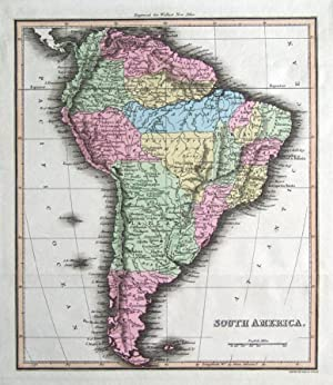 SOUTH AMERICA Thomson,Walker original hand coloured antique map 1816