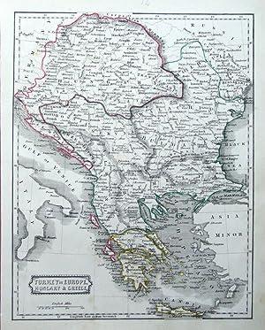 turkey in europe albania serbia bulgaria greece romania teesdale antique map 1841 greecehungary turkeycroatiaserbia bosnia dblair original