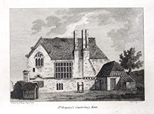 KENT, ST GREGORY'S PRIORY, CANTERBURY Hooper Antique Print 1787