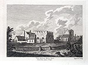 KENT,ST MARY'S ABBEY,WEST MALLING, Hooper Antique Print 1784