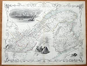 EAST CANADA, NEW BRUNSWICK, RAPKIN & TALLIS orig.hand col.antique illustrated map c1850