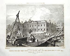 LONDON, FISHMONGER HALL, RIVER THAMES, Britton Antique Print 1829