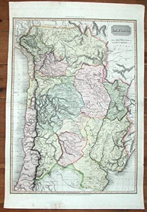 LA PLATA, ARGENTINA, CHILE,URUGUAY, Pinkerton, V.large original antique map 1812