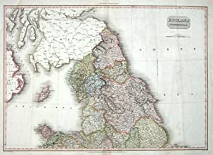 NORTHERN ENGLAND Pinkerton antique hand coloured map 1811