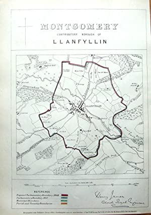 WALES, LLANFYLLIN MONTGOMERY,POWYS Antique Map 1868