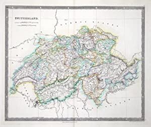 SWITZERLAND, Teesdale Hand Coloured Original Antique Map 1841