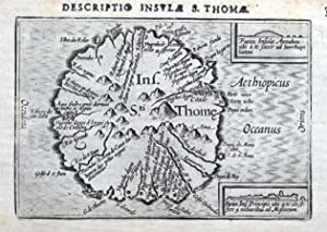 SAO TOME ISLAND, AFRICA, BERTIUS original antique map 1606