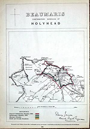 WALES, ANGLESEY, HOLYHEAD TOWN, Boundary Commission Antique Map 1868