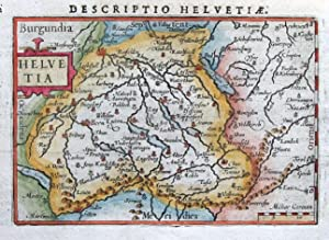 SWITZERLAND, HELVETIA, BERTIUS original miniature hand coloured antique map 1606