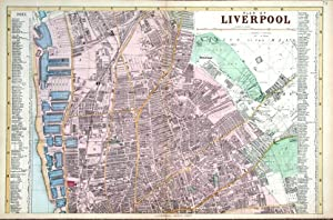 LIVERPOOL NORTH, DOCKS, CITY AND STREET PLAN, BACON Antique Map 1895